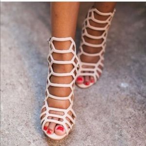 Shoes - Nude caged heels